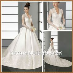 Elegant A-line Lace And Satin Long Train Long Sleeve Wedding Gowns on AliExpress.com. $170.00