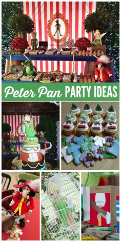 A magical Peter Pan boy birthday party with lots of Peter Pan themed sweets and games!  See more party planning ideas at CatchMyParty.com!