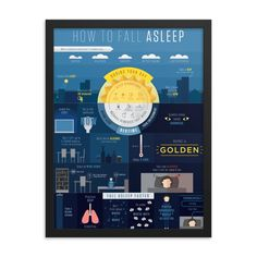 Falling asleep should be easy, but some nights just don't go so well. Thoroughly researched, intricately organized, and artfully presented, the 'How To Fall Asleep Poster' is a beautiful addition to your bedroom decor. You can rest easy with this visual reminder of everything you need to get more quality sleep at night. Silence Is Golden, Some Nights, Falling Asleep, Smart Art, Lifehacks, Good Night Sleep, Graphic Prints, Bedtime, How To Fall Asleep