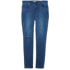 Knee Rip Blue Denim Jeans (50 CAD) ❤ liked on Polyvore featuring jeans, bottoms, stretchy skinny jeans, distressed jeans, zipper skinny jeans, blue skinny jeans and stretch skinny jeans