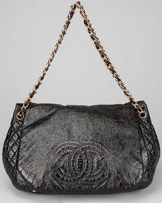 Chanel Black Patent Leather Rock & Chain Accordion Shoulder Bag
