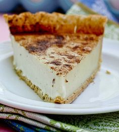 """Sugar Cream Pie - """"this sweet custard pie is FOOLPROOF!!  I love the cinnamon topping and how it stays in neat slices when you cut it instead of running all over the plate."""""""