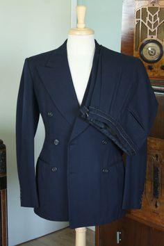RARE Vintage 1930's Suit w Matching Belt by Bullock'S (180)