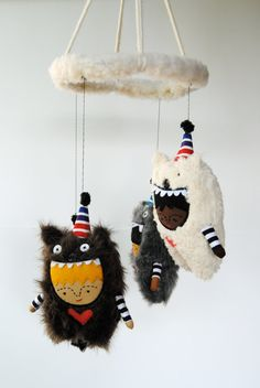 Baby Mobile  Bears in Party Hats  Customize by PinkCheeksStudios, $120.00