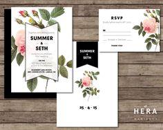 Printable Wedding Invitation Set  |  Wedding invitation + RSVP Card  | Botanical invitation   | Vintage chic invitation | Floral |  Spring by HeraPaperGoods on Etsy https://www.etsy.com/listing/227706925/printable-wedding-invitation-set-wedding
