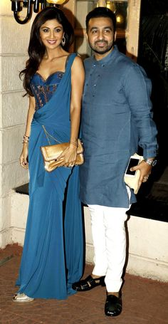 Shilpa Shetty and Raj Kundra at Ekta Kapoor's #Diwali bash. #Bollywood #Fashion #Style #Beauty #Hot #Desi #Sexy