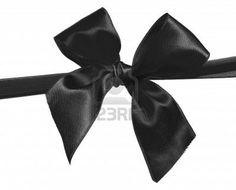 ruban noir et bow isolé sur fond blanc Banque d'images