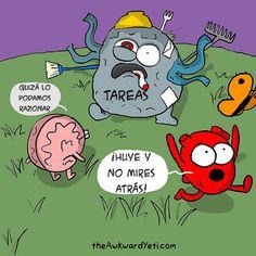 Razón vs Emoción Heart Vs Brain, The Awkward Yeti, Anatomy Art, Funny Memes, Cartoons, Challenges, Icons, Cleaning, Draw