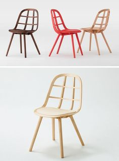 Furniture Ideas - 14 Modern Wood Chairs For Your Dining Room // This simple yet stylish chair uses interlocking wood strips to create a sturdy dining chair with a unique design.