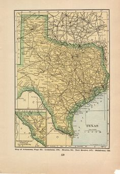 Vintage Map of Texas / Utah   1927 US State Map must see USA in 1927