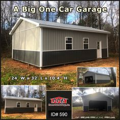 "A Big One Car Garage 24' W x 32' L x 10' 4"" H (ID# 590) Upper Color: Ash Gray Lower Color: Charcoal (1) 16' x 8' Residential Classic Raised Long Panel Insulated Garage Door (1) 3068 9-Lite Fiberglass Insulated Entry Door (2) 3' x 4' Single-Hung Insulated Windows (1) 24"" Cupola with Louvers, Roof Color: Charcoal, Center Color: White, Base Color: White (1) 24"" Rooster Weathervane #one #car #garage #room #ashgray Garage Room, Car Garage, Garage Door Insulation, Windows 1, Pole Buildings, Roof Colors, Garage Design, First Car, 4 H"