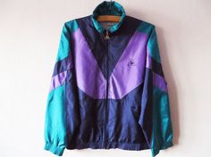 Vintage 80s Windbreaker Colorblock Parka Bright by MenswearFashion