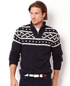 Nautica Sweater, Fairisle Quarter Zip Sweater