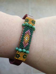 Miyuki beads & leather bracelet