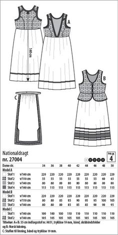 Nationaldragt - 27004 - Stof & Stil 20s Fashion, Folk Fashion, Fashion Art, Folk Clothing, Clothing Patterns, Folk Costume, Costumes, Norwegian Clothing, Fashion Vector
