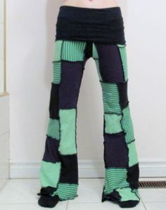 Patchwork Pants DIY Purple Green Black Yoga Pixie Hippie Hooping Clothes Gypsy