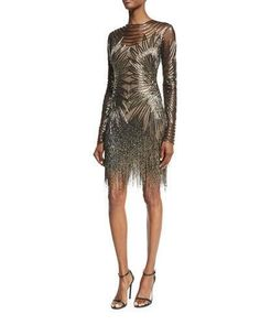 Naeem Khan Long-Sleeve Fringed Cocktail Dress Linda's at BG Naeem Khan, Gatsby Outfit, Dress Outfits, Fashion Outfits, Funky Outfits, Women's Evening Dresses, Womens Cocktail Dresses, Silver Dress, Dress To Impress