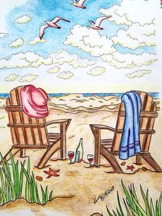 Creative Haven Summer Scenes by Teresa Goodridge C D'A Pablo, FC Polychromos and Prismacolor Premiere colored pencils. Summer Scenes, Beach Scenes, Summer Art, Summer Colors, Creative Haven Coloring Books, Summer Coloring Pages, Summer Painting, Dover Publications, Country Charm
