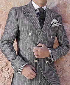 Stay away from the ordinary. Listen men, a double breasted grey and white pinstripe suit is what you need in your wardrobe! Sharp Dressed Man, Well Dressed Men, Dress Suits, Men Dress, Double Breasted Pinstripe Suit, Grey Suit Wedding, Mens Fashion Suits, Male Fashion, Gentleman Style