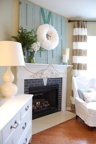 shutters over the fireplace ♥
