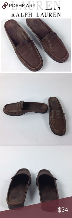 RALPH LAUREN Brown Leather Loafer Mules Comfortable and cute loafer Mules in chocolate brown leather. Perfect for all day wear. Great condition!  Thanks for your interest and please checkout the rest of my closet! Ralph Lauren Shoes Mules & Clogs