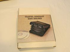 Travel compact disc holder new slide switch plastic hard case holds 8 discs RARE #JCPenney #discholder