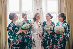 Bridesmaids Dressing Gowns Teal Gold Barn Wedding http://www.mr-and-mrs-wedding-photography.co.uk/
