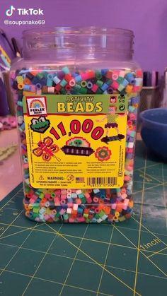 Diy Bracelets Easy, Bracelet Crafts, Rave Bracelets, Diy Crafts Hacks, Cute Crafts, Perler Bead Art, Hama Beads, Indie Kids, Cute Jewelry