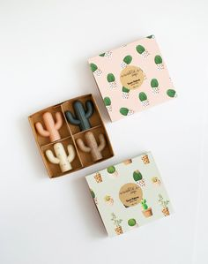 Four petite cactus soaps - Handmade, Cold Processed Soap, Natural, Vegan, Artisan.
