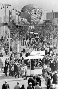 Not Ridgewood but close........A general view of people at the 1964 N.Y. World's Fair. Its symbol, the Unisphere, is in the background at Flushing Meadows, Queens. Taken on Sunday, April 27, 1964.
