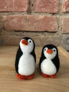Set of two cute little Felted Needle Felted Animals, Felt Animals, Needle Felting, Felt Penguin, Pumpkin Hat, Felt Gifts, Unusual Animals, Cute Penguins, Felt Toys