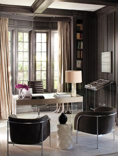 Dark wood on walls but more contemporary design.