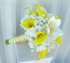 Wedding bouquet Yellow real touch calla by BrideinBloomWeddings