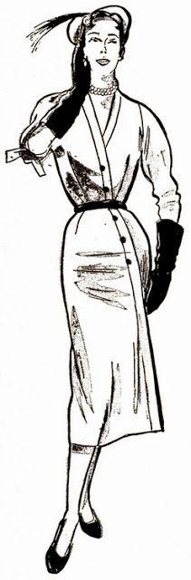 ANOS DOURADOS: IMAGENS & FATOS: Novembro 2013 - 1955 Modelo feito de surá de seda, com transpasse ligeiro na frente da blusa e mais acentuado na saia. Mangas três-quartos.1955 Modelo feito de surá de seda, com transpasse ligeiro na frente da blusa e mais acentuado na saia. Mangas três-quartos.