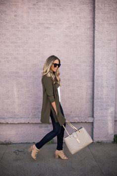 Olive Drape Front Jacket | The Teacher Diva | Bloglovin'