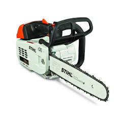 Stihl says the engine's efficiency not only reduces emissions but also cuts down the frequency with which arborists have to come down from a tree for refueling.