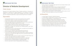 Director Of Web Development Job Description   A Template To Quickly  Document The Role And Responsibilities