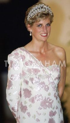 April 23, 1991: Princess Diana attending a banquet at the Itamaraty Palace in…