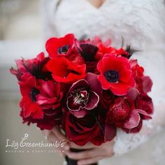 Lily Greenthumb's Wedding and Event Design Image by Richard Israel Anemones, orchids, roses, ranunculus, bridal bouquet, Charlotte wedding flowers