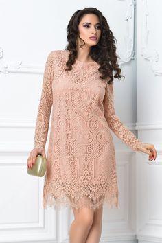 rochie scurta roz din dantela eleganta cu maneci lungi din dantela Tunic Tops, Dresses With Sleeves, Long Sleeve, Casual, Women, Fashion, Moda, Sleeve Dresses, Long Dress Patterns