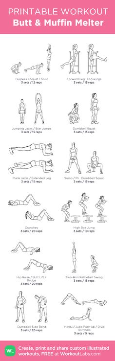 Butt & Muffin Melter:my visual workout created at WorkoutLabs.com • Click through to customize and download as a FREE PDF! #customworkout
