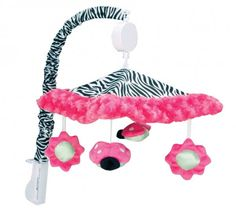 The Zahara Crib Bedding from Trend Lab is a super-fashionable mix of black and white. This coordinating Zahara Musical Mobile encourages eye tracking and sound perception skills with 2 ladybugs and 2 flowers that dangle and spin to Brahms' Lullaby. Best Crib Mobile, Pink Mobile, Black White Pink, Pink And Green, White Zebra, Color Black, Musical Crib Mobile, Finger, Diy Crib