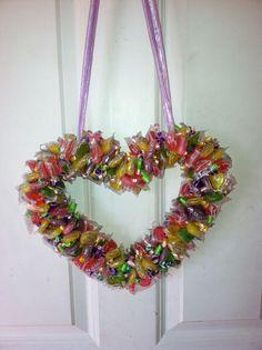Valentine's+Day+Candy+Wreaths   Valentines Day Candy wreath