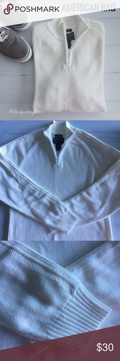 American Rag Cie Pullover Sweater Men's Pullover Three Quarter Zip Up Sweater by American Rag. This sweater was a gift and has never been worn. It does not have tags. This sweater is great for layering or alone. The color is a creamy white. American Rag Sweaters Zip Up