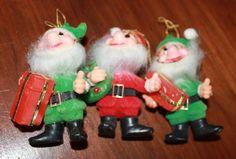Vintage Christmas Elves Dwarves Pixies Midcentury Kitsch Ornaments 1950s by poetsy