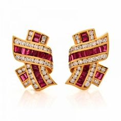 Krypell 12.11 ct Ruby Diamond 18K Yellow Gold Clip-on Designer Earrings