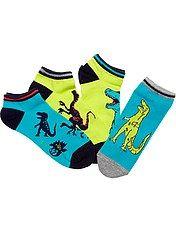 Lote de 4 pares de calcetines invisibles con estampado de dinosaurio