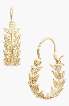 Mizuki 'Wings of Desire' Diamond Feather Hoop Earrings available at #Nordstrom