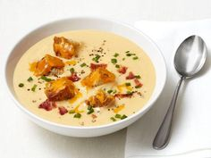 Get Apple-Cheddar Soup With Bacon Recipe from Food Network