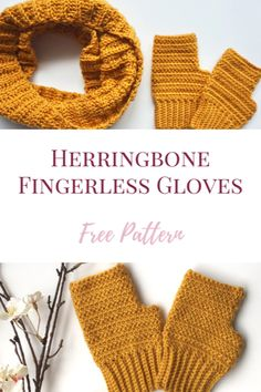 A free crochet mittens pattern using an alternating herringbone stitch and a single crochet - only two stitches required! Crochet Blanket Patterns, Crochet Stitches, Knitting Patterns, Filet Crochet, Crochet Fingerless Gloves Free Pattern, Fingerless Mitts, Crochet Hats, Herringbone Stitch Tutorial, Crochet Wrist Warmers